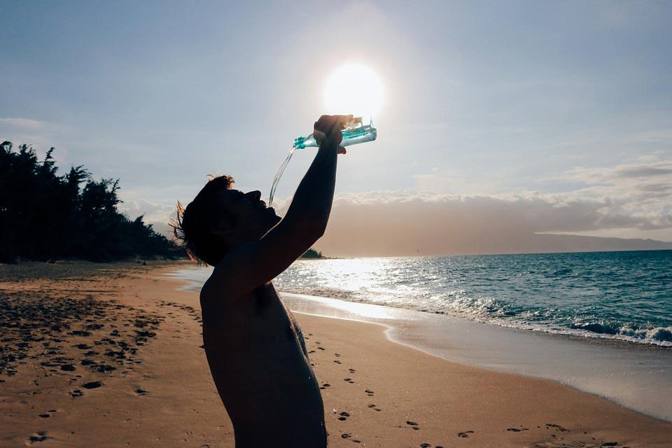 male-drinking-water